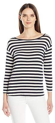 Velvet by Graham & Spencer Women's Lux Gauze Stripe 3/4 Sleeve Tee
