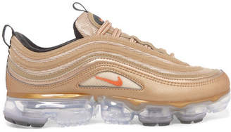 Nike Air Vapormax 97 Metallic Faux Leather And Mesh Sneakers - Gold
