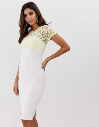 Vesper short sleeve contrast 2 tone pencil dress