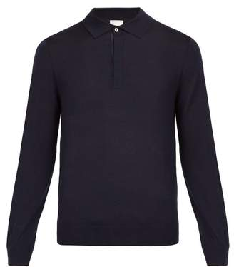 Paul Smith Long Sleeved Fine Knit Wool Polo Shirt - Mens - Navy