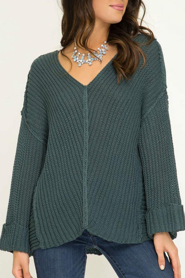 She + Sky Teal Cuffed Sweater