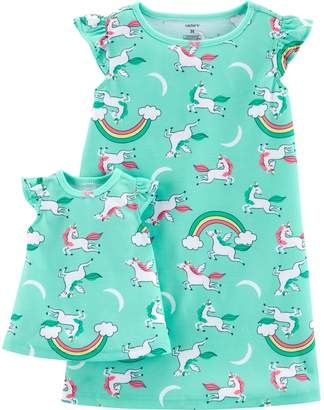 Carter's Toddler Girl Unicorn & Rainbows Nightgown & Matching Doll Nightgown Set