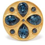 Rebecca De Ravenel Pamina Gold Plated Swarovski Crystal Ring - Womens - Blue