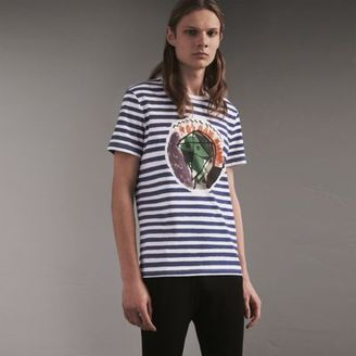 Burberry Pallas Head Print Striped Cotton T-shirt $275 thestylecure.com