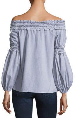 Max Studio Off-the-Shoulder Smocked Shirt