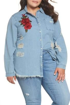 Glamorous Embroidered Distressed Cotton Denim Shirt (Mid Stonewash) (Plus Size)