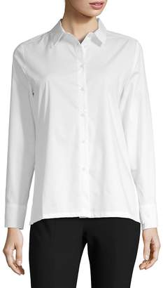 August Silk Women's Poplin Lace-Up Blouse