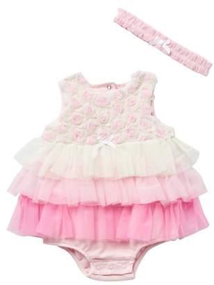 Little Me Rossete Popover Bodysuit & Headband Set (Baby Girls)