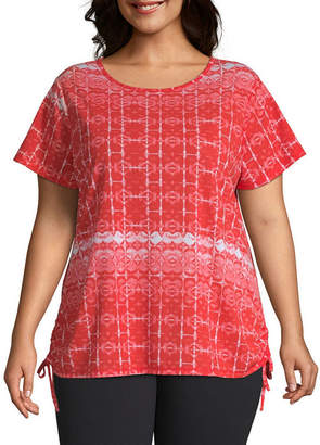 ST. JOHN'S BAY SJB ACTIVE Active-Womens Round Neck Short Sleeve T-Shirt Plus