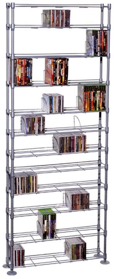 Atlantic Maxsteel 864 CD or 450 DVD and Blu-Ray Silver 12-Tier Multimedia Rack