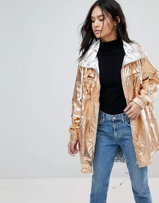 Blank NYC Reversible Metallic Rain Festival Jacket