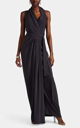 Rick Owens Women's Limo Draped Silk Crepe Long Dress - Navy