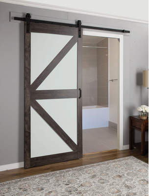 URBAN RESEARCH Erias Home Designs Continental Frosted Glass 1 Panel Ironage Laminate Interior Barn Door