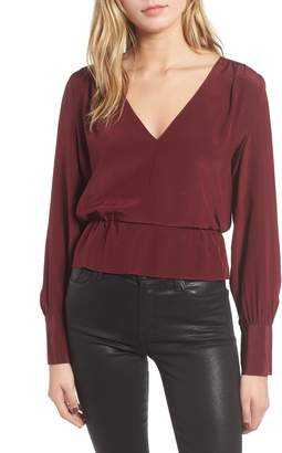 7 For All Mankind Deep V-Neck Peplum Top