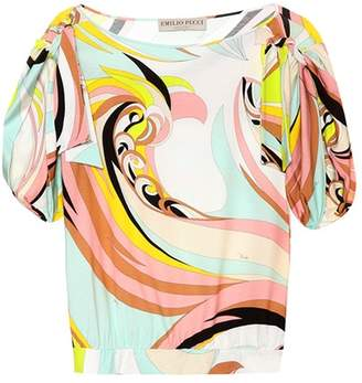 Emilio Pucci Beach Printed ruched-sleeve top
