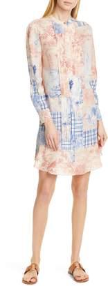 Tory Burch Cora Long Sleeve Silk Shift Dress