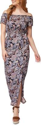 Dex Printed Off-The-Shoulder Maxi Dress