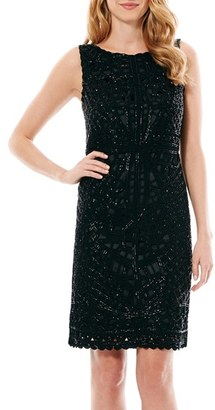 Women's Laundry By Shelli Segal Beaded Crepe Shift Dress $345 thestylecure.com