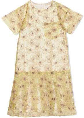 Burberry Floral Appliqué Tulle Dress