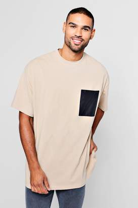 boohoo Oversized T-Shirt With Woven Pocket