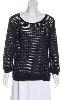 Calypso Scoop Neck Rib-Knit Trim Sweater