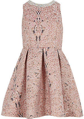 River Island Girls pink metallic jacquard prom dress
