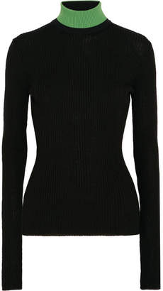 CALVIN KLEIN 205W39NYC - Appliquéd Ribbed Wool-blend Turtleneck Sweater - Black $725 thestylecure.com