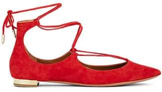 Aquazzura WOMEN'S CHRISTY LACE-UP SUEDE FLATS - RED SIZE 11
