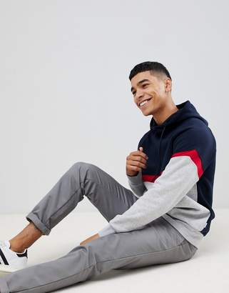 Jack and Jones Core hoodie with color stripe and chest branding