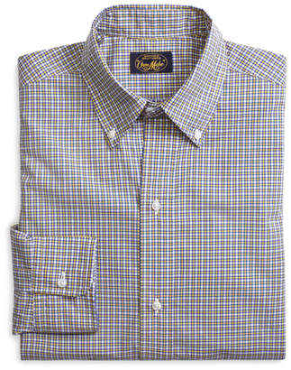 Brooks Brothers Own Make Yellow and Blue Mini Plaid Sport Shirt