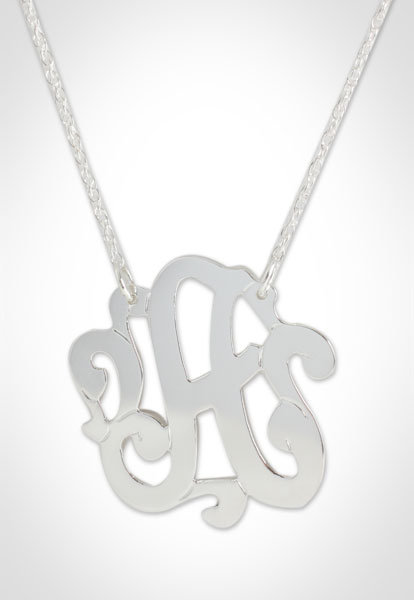 Jennifer Zeuner Small Swirl Initial Necklace in Sterling Silver