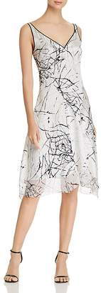 Elie Tahari Seldana Abstract-Print Silk Slip Dress