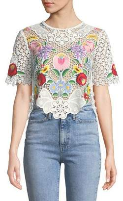 Saylor Crewneck Short-Sleeve Floral Embroidered Lace Crop Top