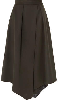 Cefinn - Asymmetric Pleated Twill Midi Skirt - Army green
