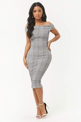 Forever 21 Off-the-Shoulder Glen Plaid Dress