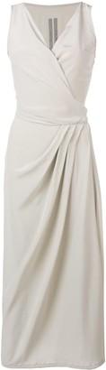 Rick Owens asymmetric wrap front midi dress