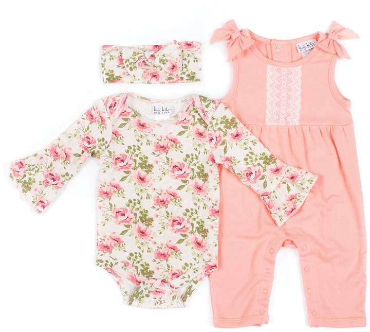 Nicole Miller NY 3-Piece Floral Bodysuit, Jumper and Headband Set in Coral