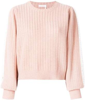 See by Chloe embroidered ribbed balloon sleeve sweater