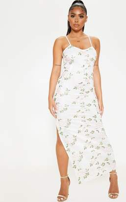 PrettyLittleThing Petite White Strappy Embroidered Floral Print Maxi Dress