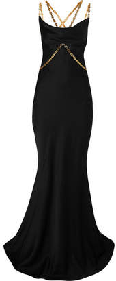 Versace Embellished Satin Gown - Black