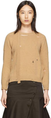 Marc Jacobs Beige The Worn And Torn Crewneck Sweater