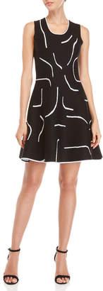 Derek Lam 10 Crosby Black & White Printed Knit Fit & Flare Dress