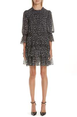 Michael Kors Cheetah Print Tiered Silk Chiffon Minidress