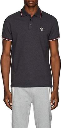 Moncler Men's Striped Cotton Piqué Polo Shirt - Gray