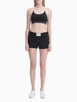 "Calvin Klein Logo Smocked Waistband 4"" Shorts"