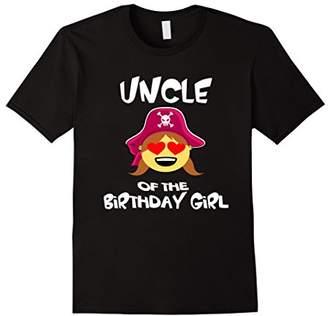 Uncle of Birthday Girl Pirate Emoji T-Shirt Heart Eyes Shirt