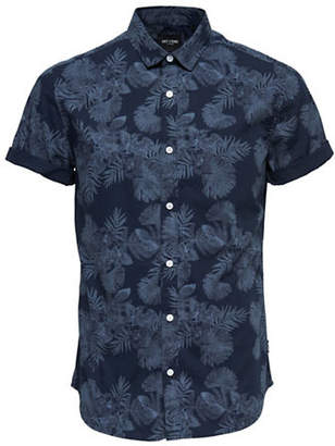 ONLY & SONS Floral-Print Cotton Sport Shirt