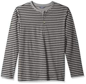 ROBUST Men's Grey Melange/Black Full Sleeve Henley Neck Striper Printed T-Shirt (Size-)