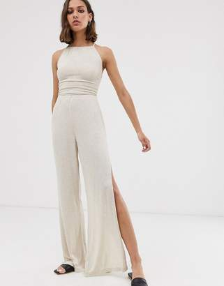 Asos Design DESIGN natural slouchy jumpsuit with split leg and rope strappy tie back