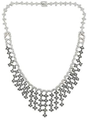 18K White Gold Floral White & Black Diamond Bib Necklace